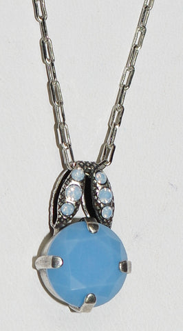 "MARIANA PENDANT AIR BLUE: blue stones in 3/4"" silver setting, 18"" adjustable chain"