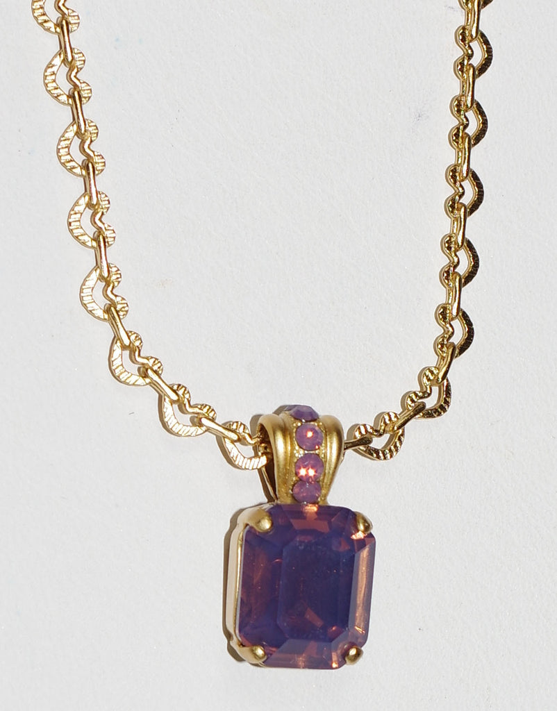 "MARIANA PENDANT CYCLAMEN: purple stones in 3/4"" yellow gold setting, 18"" adjustable chain"