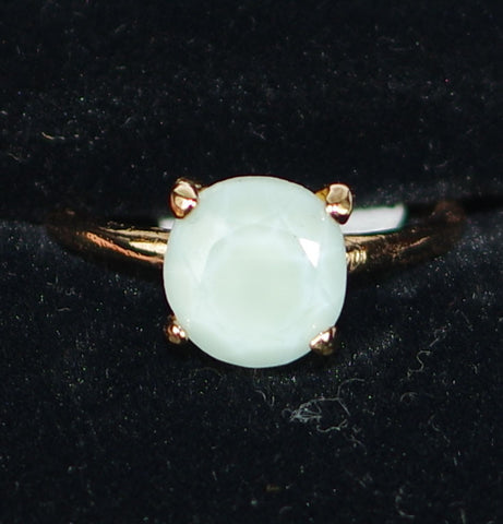 "MARIANA RING BLUE MINERAL: light blue mineral stone in 1/4"" rose gold setting, adjustable size band"