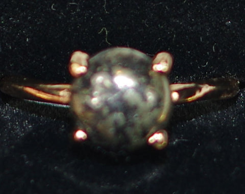 "MARIANA RING BLACK MINERAL: black, grey mineral stone in 1/4"" rose gold setting, adjustable size band"