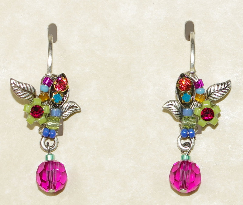 "FIREFLY EARRINGS PETITE FLOWER MC: multi color stones in 1"" silver setting, lever backs"
