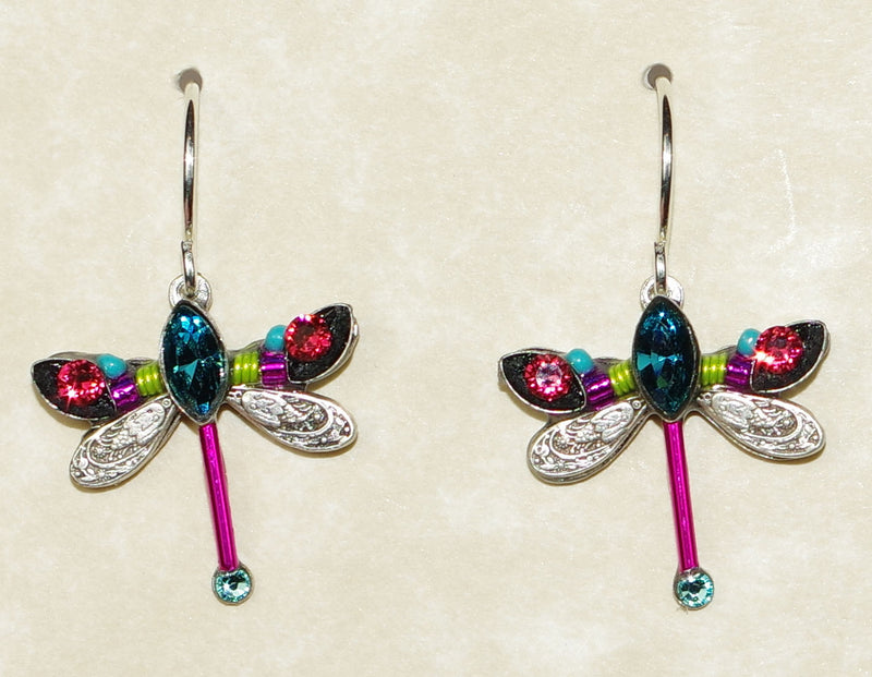 "FIREFLY EARRINGS PETITE DRAGONFLY INDI: multi color stones in 3/4"" silver setting, wire backs"