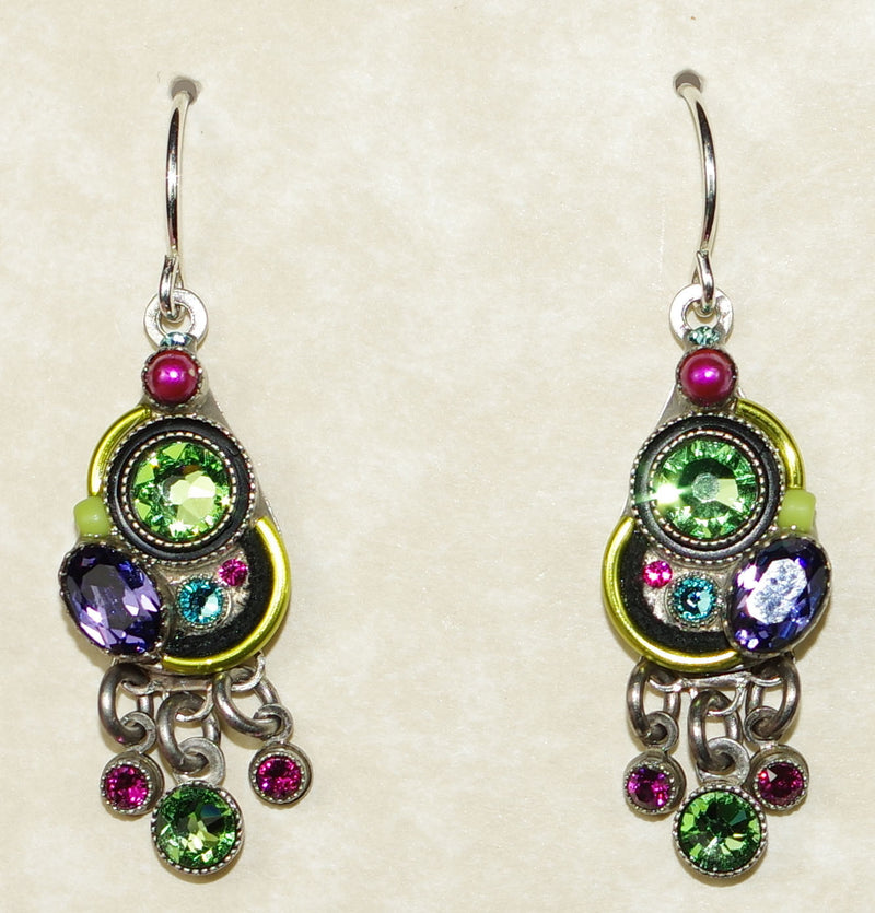 "FIREFLY EARRINGS CALYPSO PERIDOT: multi color stones in 1"" silver setting, wire backs"