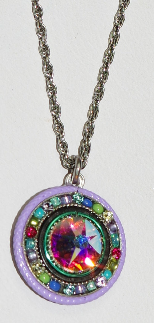 "FIREFLY NECKLACE LA DOLCE VITA ROUND SOFT: multi color stones in 18"" adjustable silver setting"