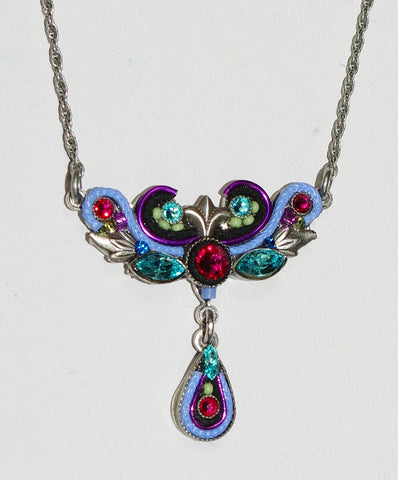 "FIREFLY NECKLACE ART NOVEAU PW: multi color stones in 16"" adjustable silver setting"