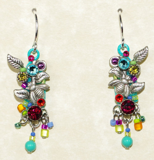 "FIREFLY EARRINGS LONG BOTANICAL MC: multi color stones in 1.25"" silver setting, wire backs"