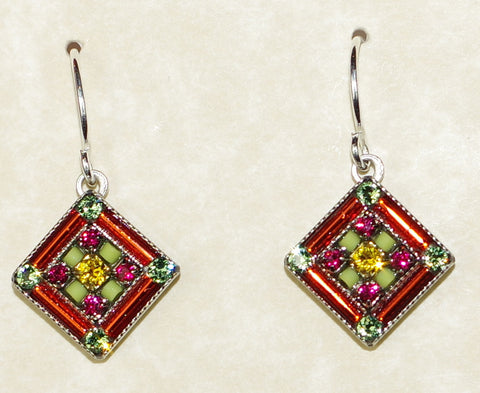 "FIREFLY EARRINGS ARCH DIAMOND TANG: multi color stones in 1/2"" silver setting, wire backs"