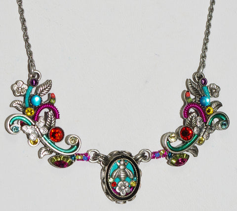 "FIREFLY NECKLACE BOTANICAL MC: multi color stones in 2.5"" wide pendant, silver 18"" adjustable chain"
