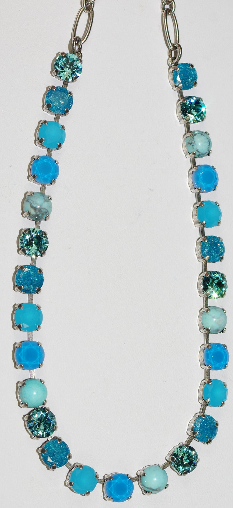 "MARIANA NECKLACE BETTE ZAMBEZI: blue, mineral stones in silver setting, 18"" adjustable chain"