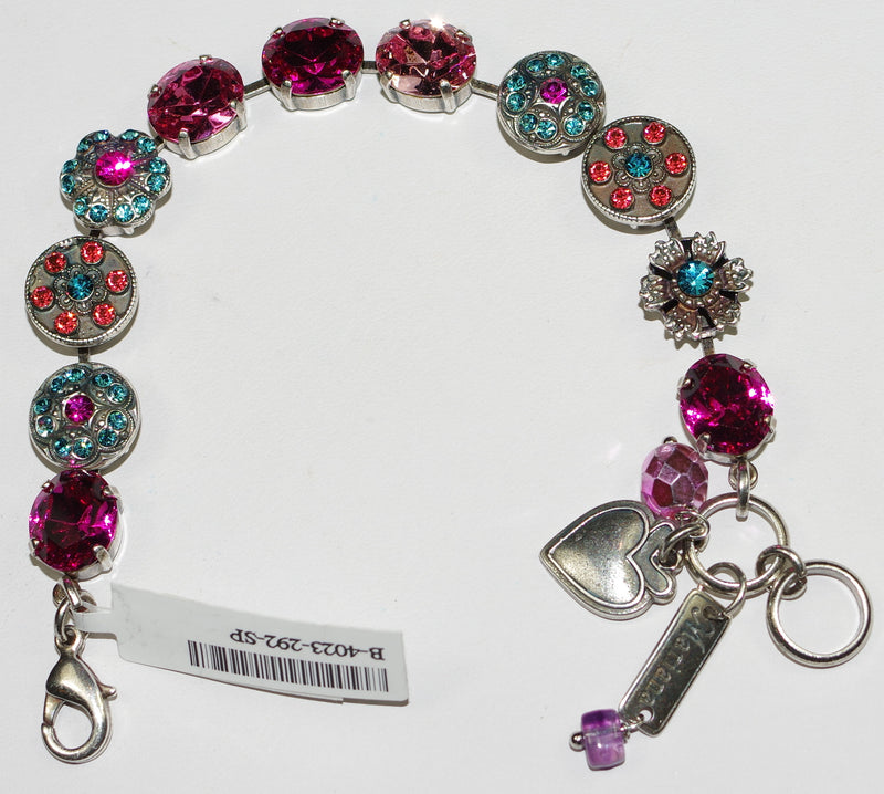 MARIANA BRACELET SORBET: pink, blue stones in silver setting
