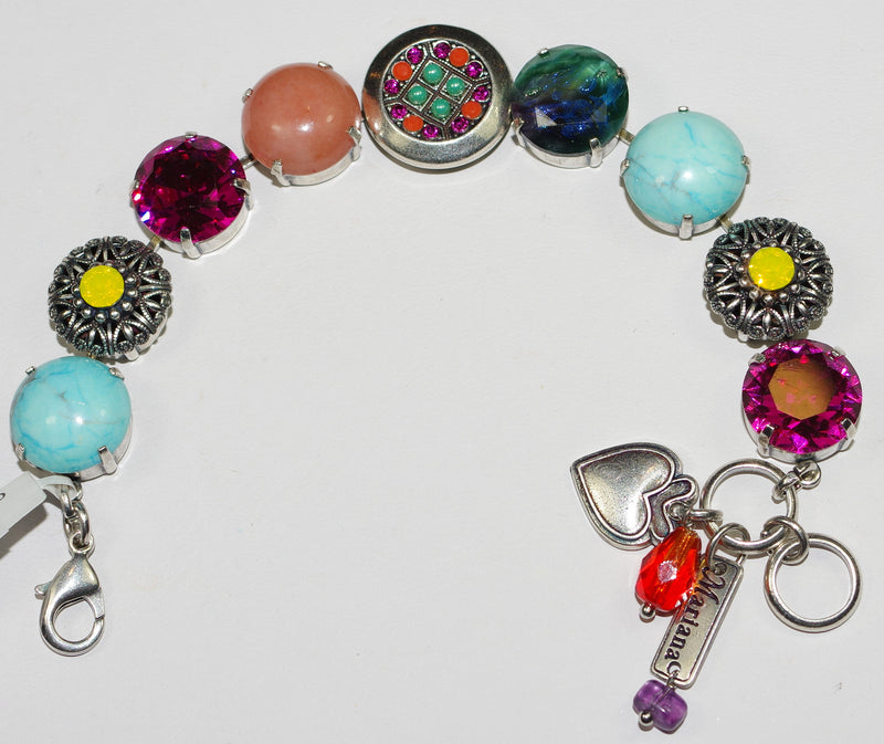 MARIANA BRACELET MASAI BUTTON:  pink, blue, yellow, orange stones in silver setting