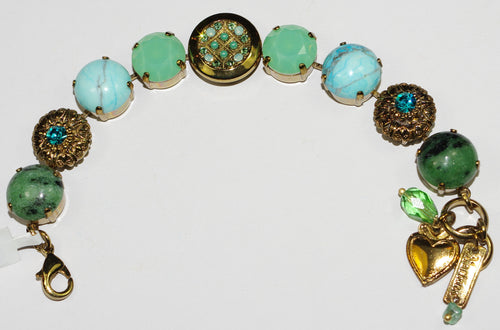 MARIANA BRACELET CONGO BUTTON: green, blue stones in european gold setting