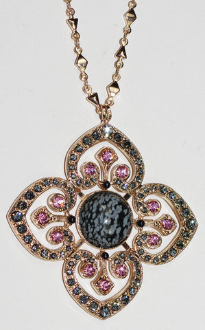 "MARIANA NECKLACE MADAGASGAR: taupe, black, pink stones in 2"" rose gold setting, 32"" adjustable chain"