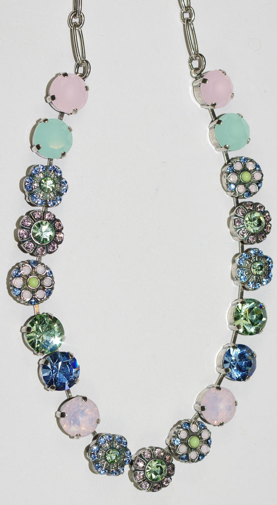 "MARIANA NECKLACE CALIFORNIA DREAMING: pink, blue, green, stones in silver setting, 18"" adjustable chain"