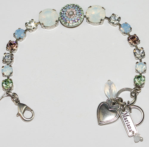 MARIANA  BRACELET COSMO: blue, white, green, pink stones in silver setting
