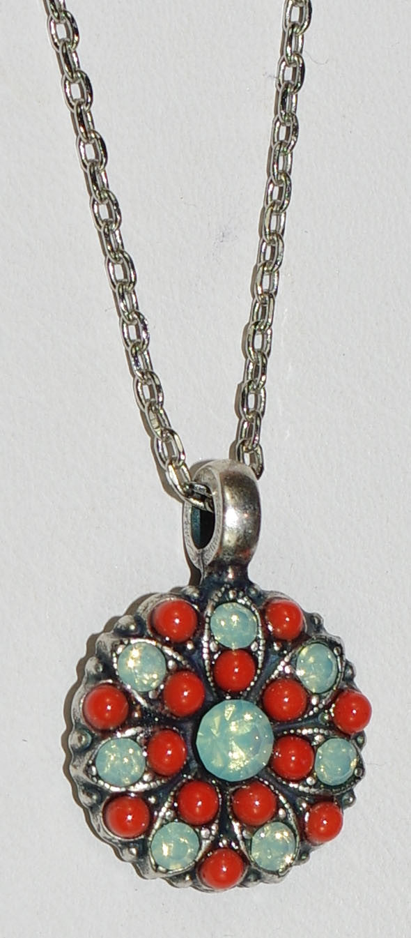 "MARIANA ANGEL PENDANT: green, orange stones in silver setting, 18"" adjustable chain"