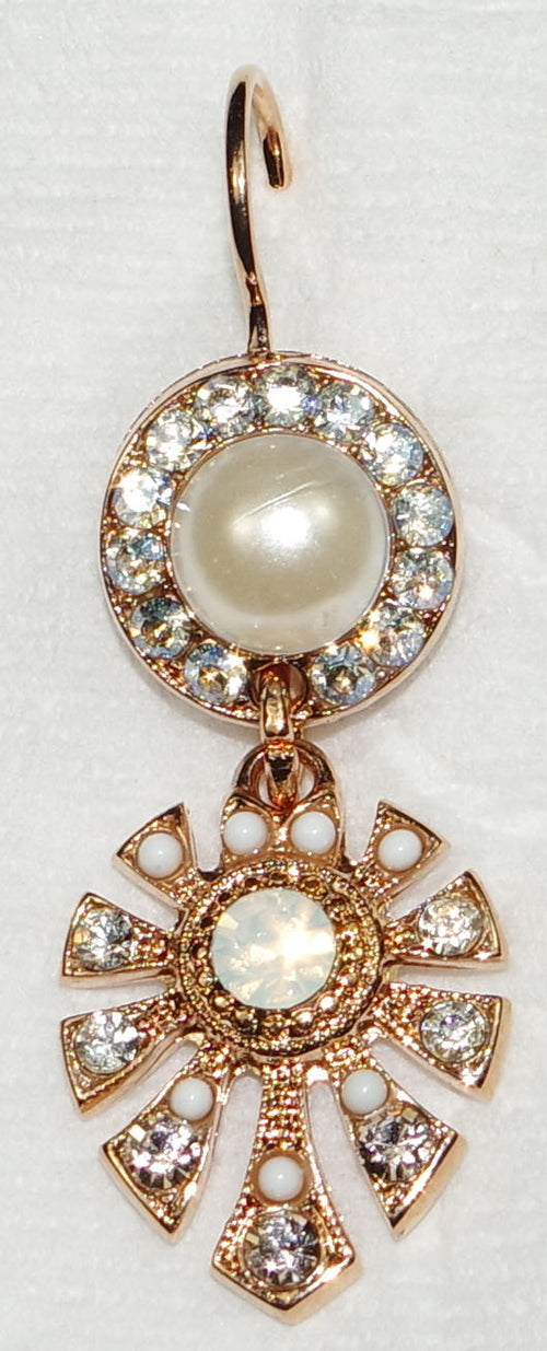 "MARIANA DUNAWAY EARRINGS KALAHARI: amber, pearl, white stones in 1"" rose gold setting, lever back"