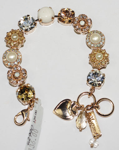 MARIANA  BRACELET KALAHARI: amber, pearl, clear, white stones in rose gold setting
