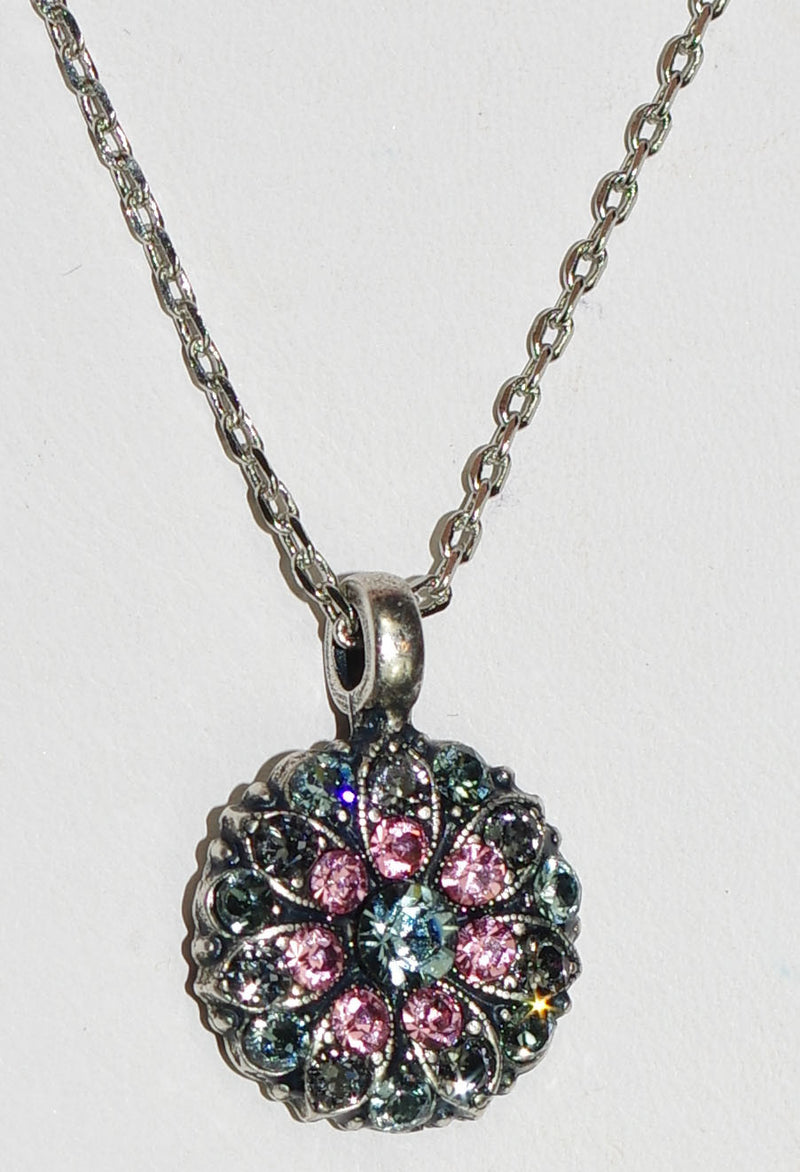 "MARIANA ANGEL PENDANT MADAGASGAR: pink, grey stones in silver setting, 18"" adjustable chain"