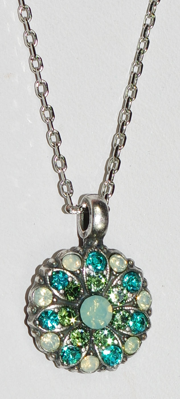 "MARIANA ANGEL PENDANT CONGO: pacific opal, green stones in silver setting, 18"" adjustable chain"