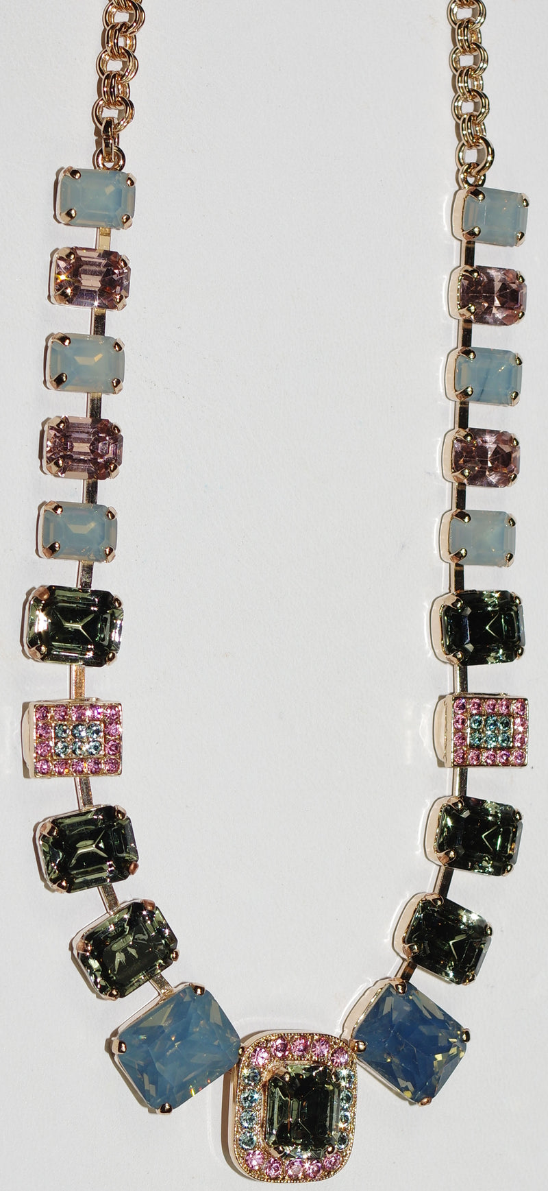 "MARIANA NECKLACE MADAGASGAR: pink, grey, blue stones in rose gold setting, 20"" adjustable chain"