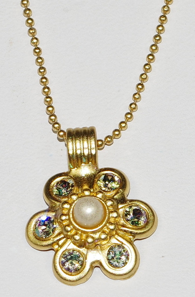 "MARIANA  PENDANT TEQUILA SUNRISE: yellow, pearl stones, in 18"" yellow gold setting, "" adjustable chain"