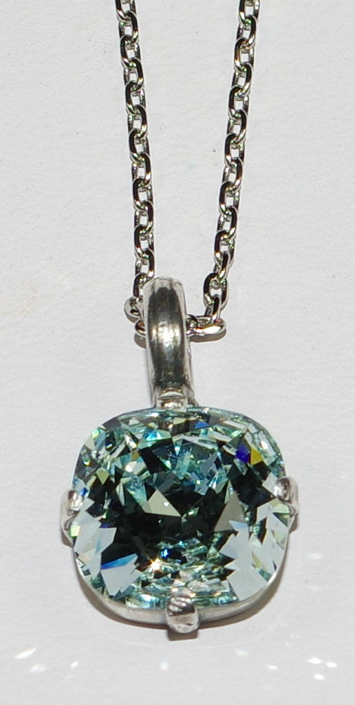 "MARIANA PENDANT BLUE: blue stone in silver setting, 18"" adjustable chain"