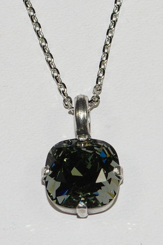 "MARIANA PENDANT BLACK DIAMOND: taupe stone in silver setting, 18"" adjustable chain"