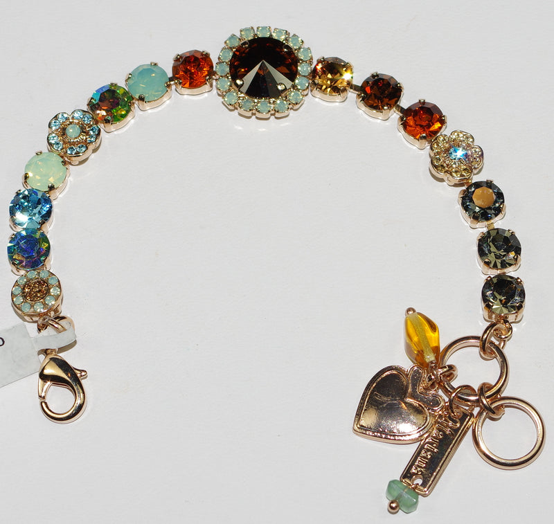 MARIANA BRACELET FORGET ME NOT: blue, amber, green, taupe stones in rose gold setting