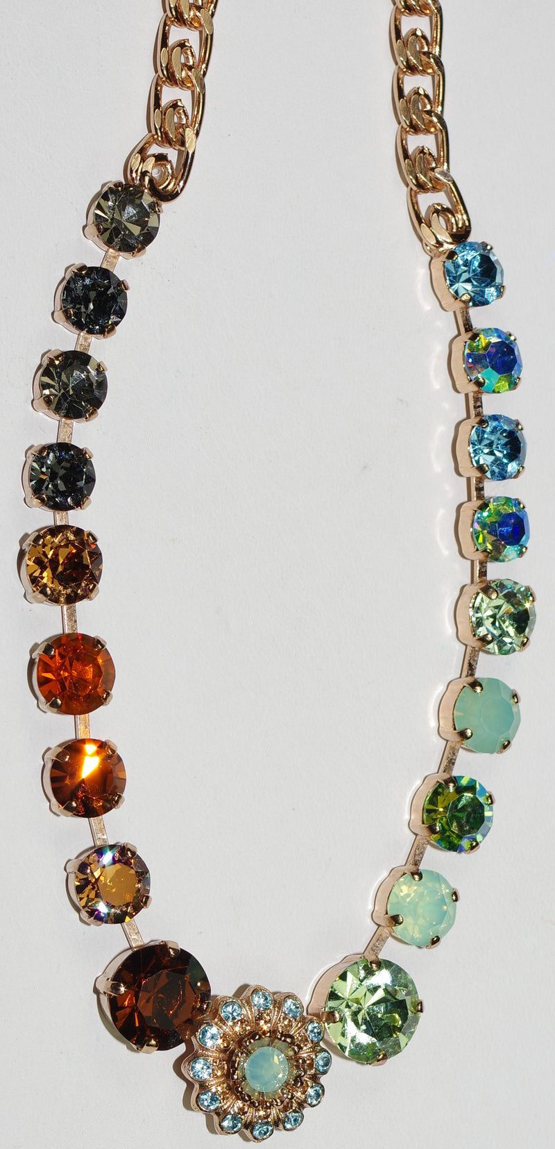 "MARIANA NECKLACE FORGET ME NOT: amber, brown, blue, purple, green stones in rose gold setting, 18"" adjustable chain"