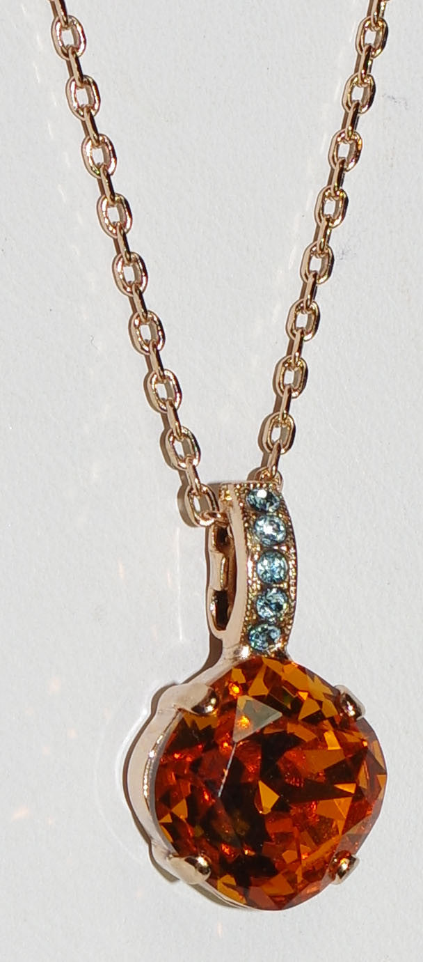 "MARIANA PENDANT FORGET ME NOT: amber, blue stones in rose gold setting, 18"" adjustable chain"