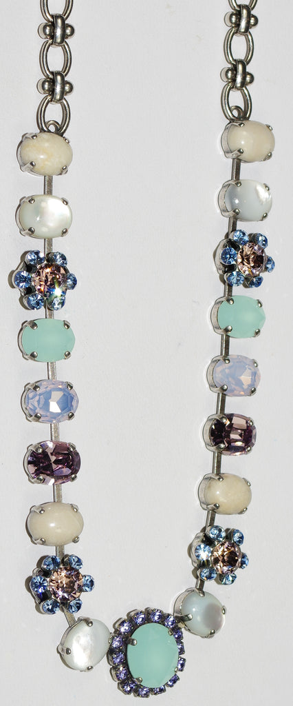 "MARIANA NECKLACE CALIFORNIA DREAMING: blue, pink, white, green stones in silver setting, 18"" adjustable chain"