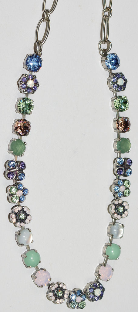"MARIANA NECKLACE CALIFORNIA DREAMING: blue, pink, green, white, lavender stones in silver setting, 16"" adjustable chain"