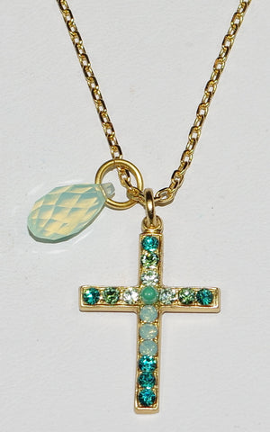 "MARIANA CROSS PENDANT CONGO: blue, green stones in 1"" yellow gold setting, 18"" adjustable chain"