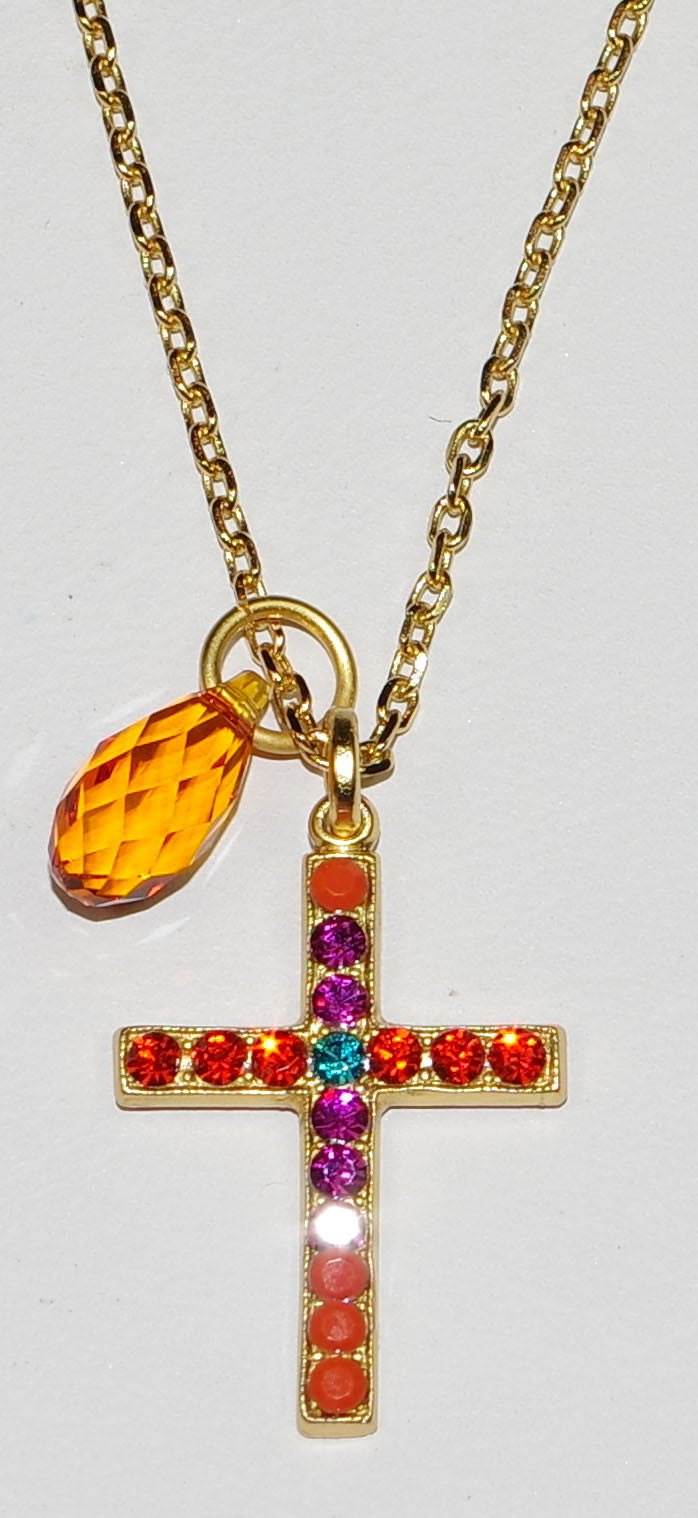 "MARIANA CROSS PENDANT MASAI: orange, blue, pink stones in 1"" yellow gold setting, 18"" adjustable chain"