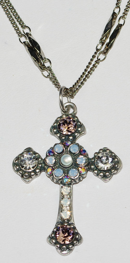 "MARIANA CROSS PENDANT COSMO: pink, clear, blue stones in silver setting, 18"" double chain"