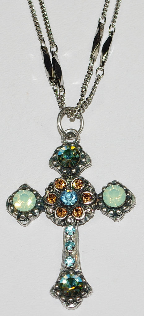 "MARIANA CROSS PENDANT FORGET ME NOT: green, amber, blue, a/b stones in silver setting, 18"" double chain"