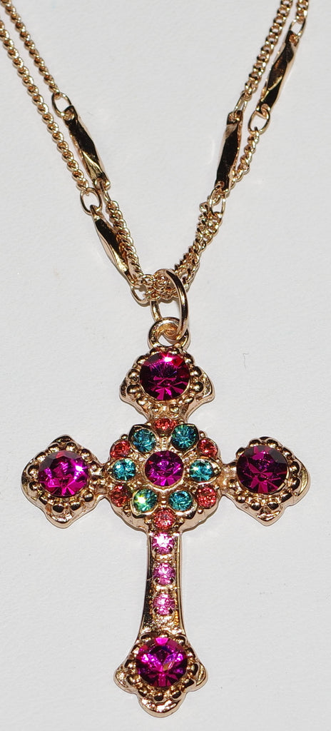"MARIANA CROSS PENDANT SORBET: pink, blue stones in rose gold setting, 18"" double chain"