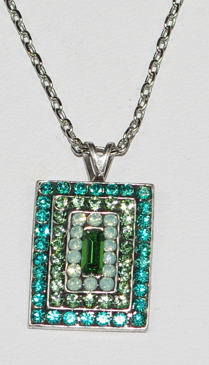 "MARIANA PENDANT CONGO: blue, green stones in 3/4"" silver setting, 18"" adjustable chain"