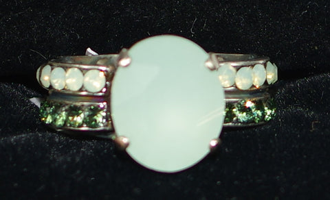 "MARIANA RING CONGO: green, blue stones in 1/2"" silver setting, adjustable size band"