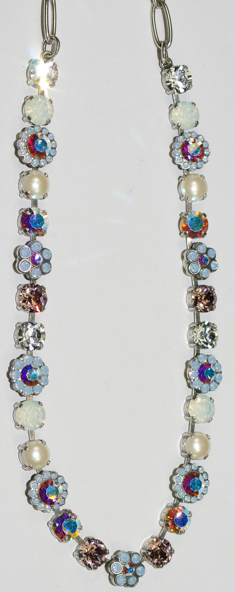 "MARIANA NECKLACE COSMO JAYNE: white, a/b, pink, blue stones in silver setting, 18"" adjustable chain"