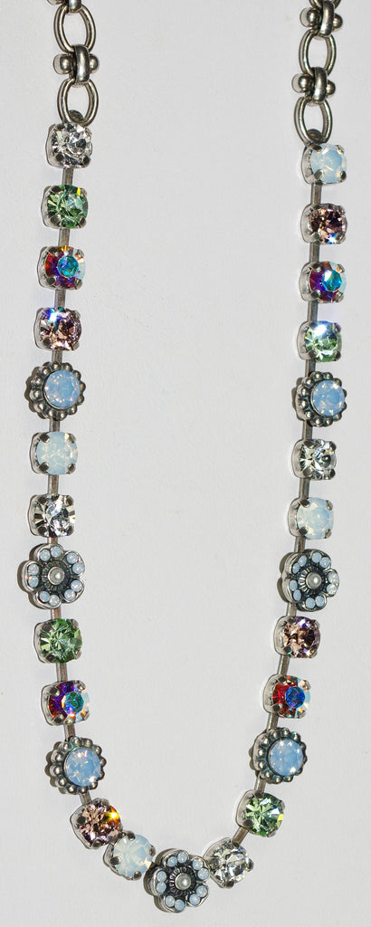"MARIANA NECKLACE COSMO: blue, green, white, pearl stones in silver setting, 19"" adjustable chain"