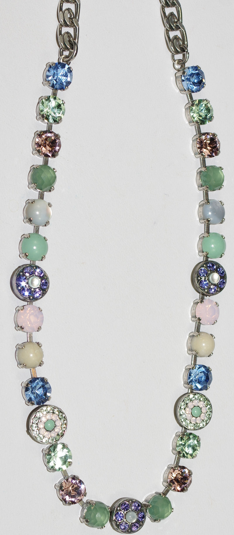 "MARIANA NECKLACE CALIFORNIA DREAMING: pink, pacific opal, blue, purple, green stones in silver setting, 17"" adjustable chain"