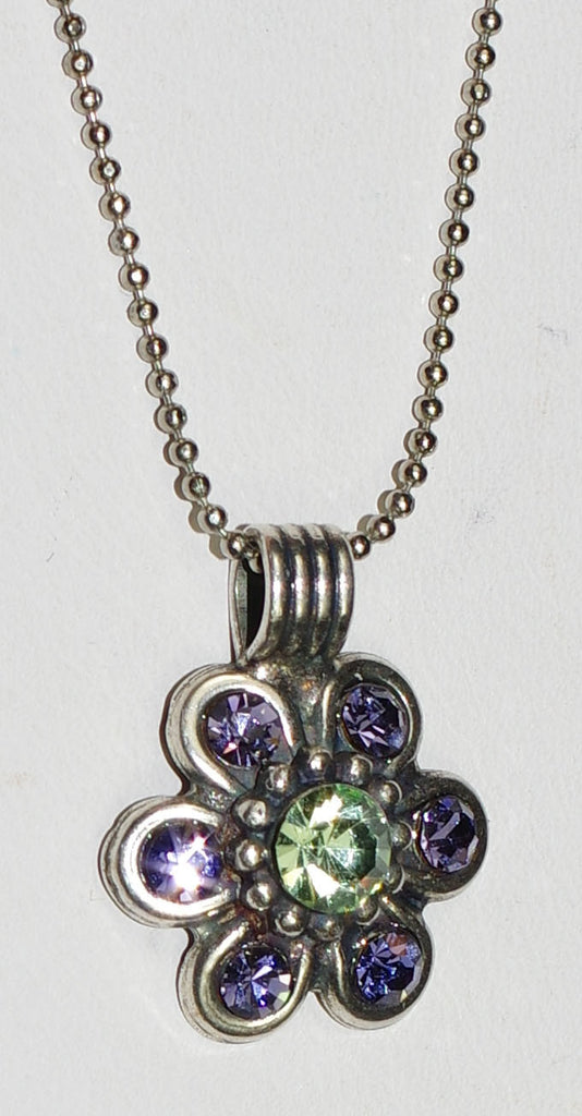 "MARIANA NECKLACE CALIFORNIA DREAMING: purple, green stones in silver setting, 20"" adjustable chain"