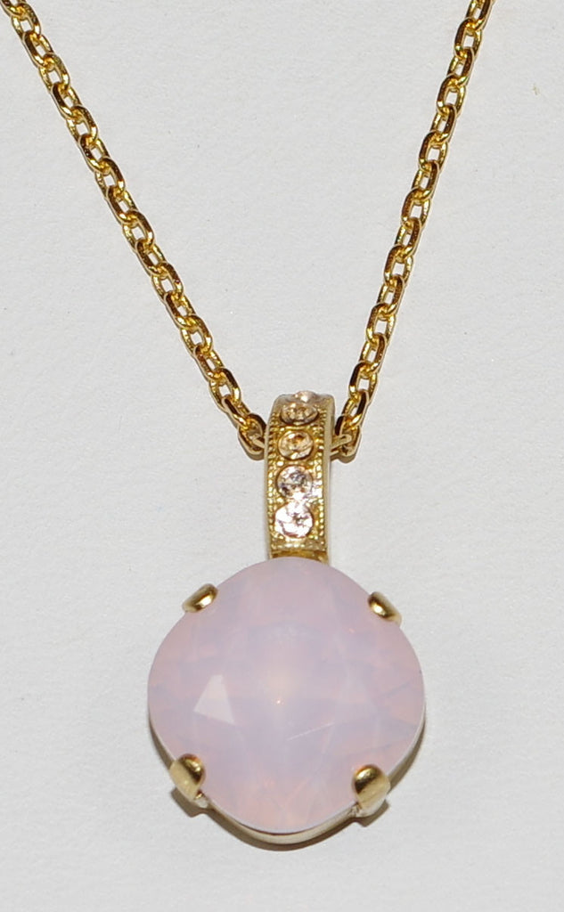 "MARIANA PENDANT TIARA DAY: pink, amber stones in yellow gold setting, 18"" adjustable chain"