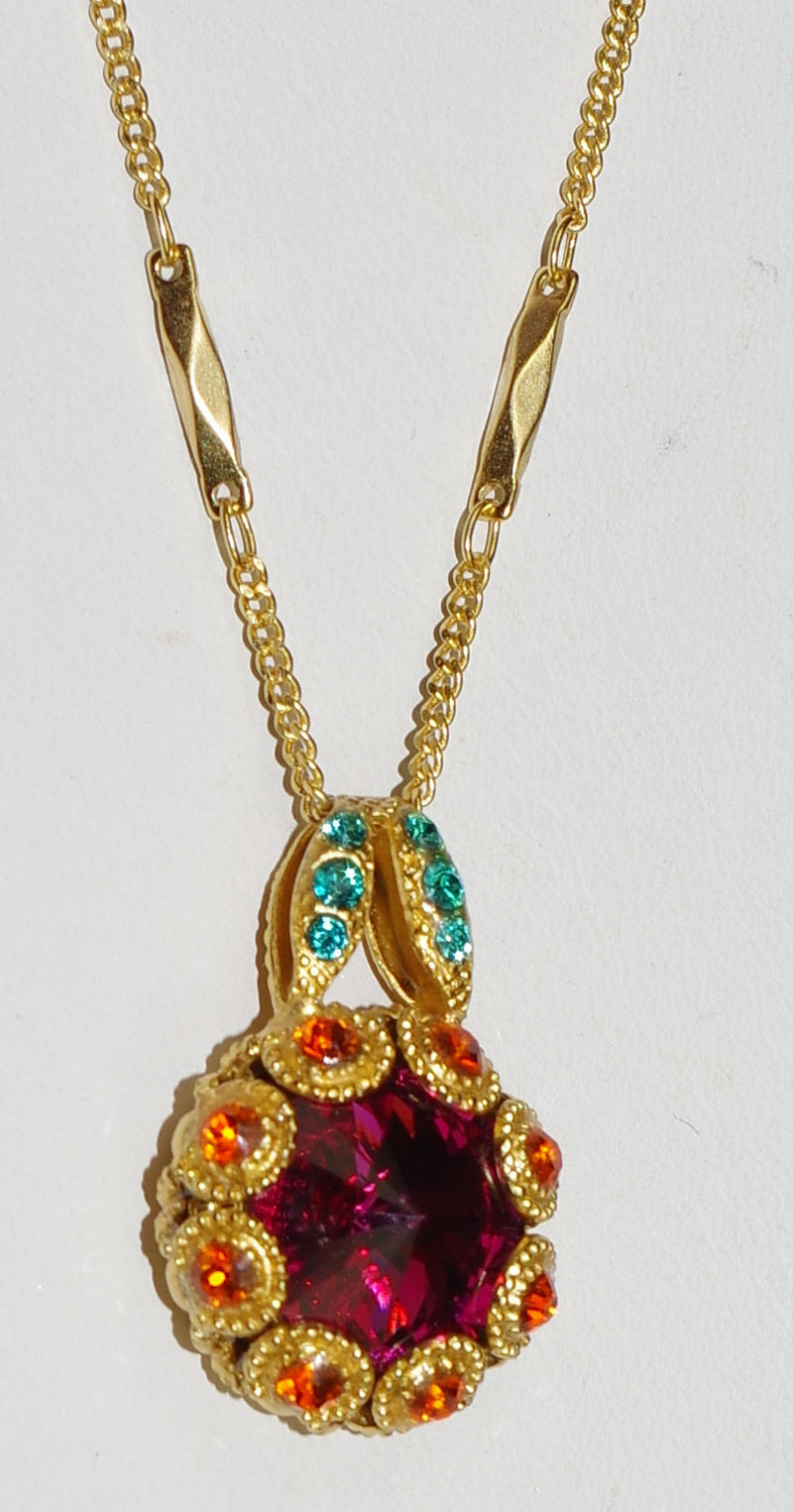 "MARIANA PENDANT MASAI: orange, pink, blue stones in 1"" yellow gold setting, 18"" adjustable chain"