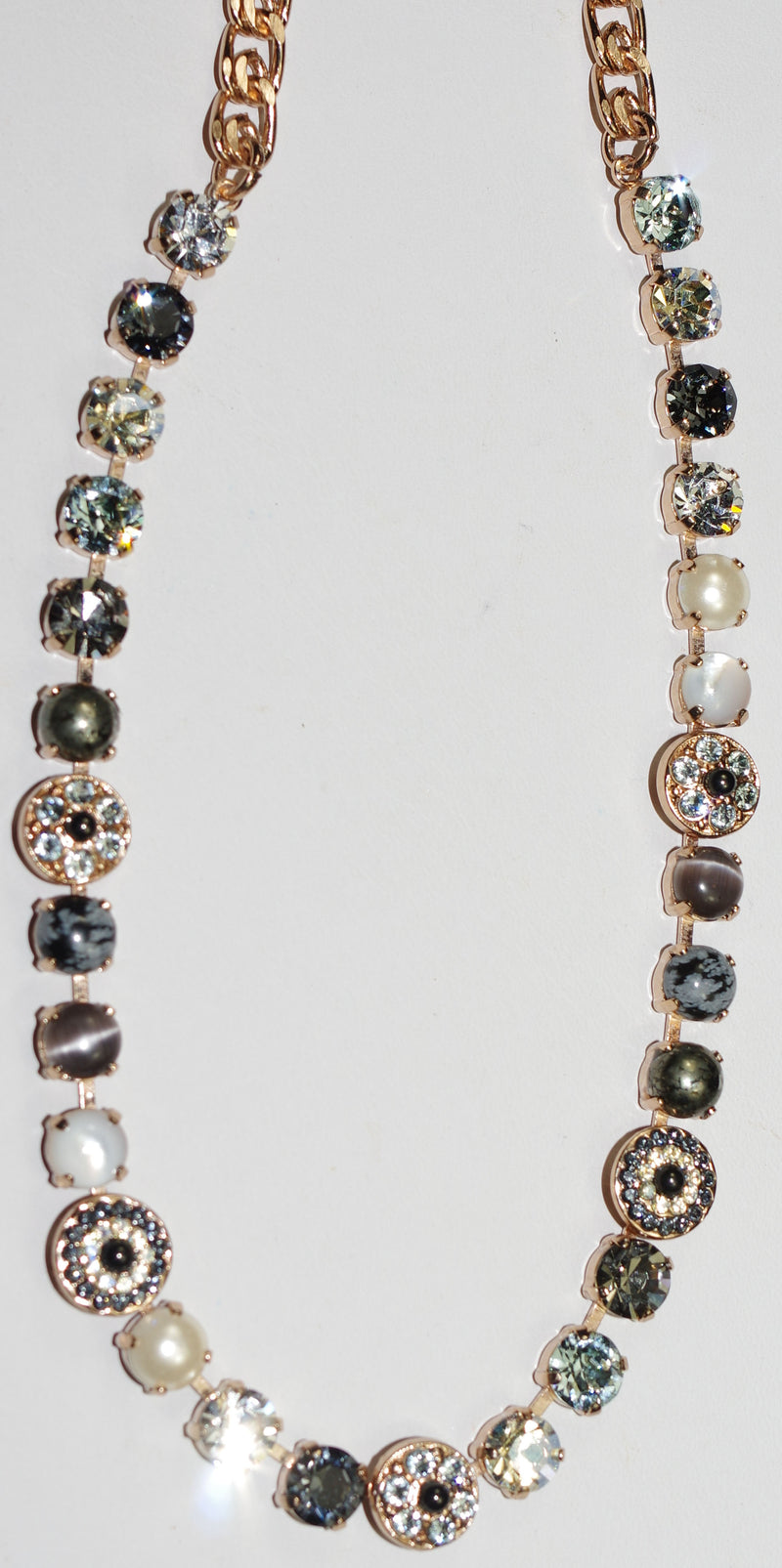 "MARIANA NECKLACE ZULU: clear, blue, pearl, white, grey stones in rose gold setting, 17"" adjustable chain"