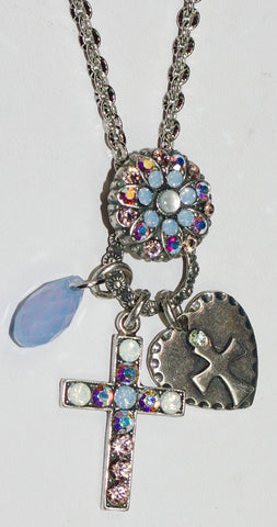 "MARIANA CROSS PENDANT COSMO: blue, a/b, white stones in 2"" silver setting, 24"" adjustable chain"