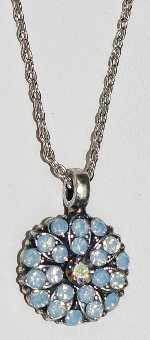 "MARIANA ANGEL PENDANT BLUE: blue, a/b stones in silver setting, 18"" adjustable chain"