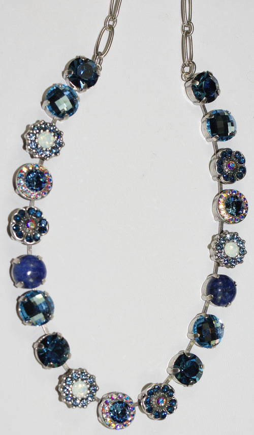 "MARIANA NECKLACE MOOD INDIGO SOPHIA: white, blue, a/b stones in silver setting, 18"" adjustable chain"